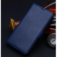 Кожаный чехол портмоне (нат. кожа) для Samsung Galaxy Note Edge Синий