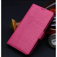 Кожаный чехол портмоне (нат. кожа крокодила) для Samsung Galaxy Note Edge Розовый