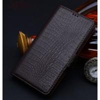Кожаный чехол портмоне (нат. кожа крокодила) для Samsung Galaxy Note Edge Коричневый