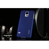 Пластиковый матовый металлик чехол для Samsung Galaxy Note Edge Синий
