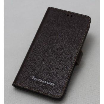 Кожаный чехол портмоне (нат. кожа) с крепежной застежкой на пластиковой основе для Lenovo S660