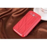 Чехол флип подставка текстурный на пластиковой основе с окном вызова и свайпом для Samsung Galaxy Grand Красный