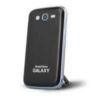 Металлический встраиваемый чехол накладка с шлифованным дизайном для Samsung Galaxy Grand Черный