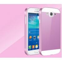Двухкомпонентный чехол с металлическим бампером и пластиковой накладкой для Samsung Galaxy Grand / Grand Neo Пурпурный