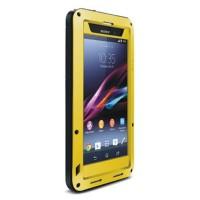 Ультрапротекторный пылеводоударостойкий чехол алюминиевый сплав/закаленное стекло/силиконовый полимер для Sony Xperia Z1