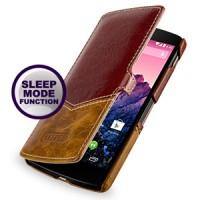 Кожаный смартчехол горизонтальная книжка (2 вида нат. кожи) ручной работы для Google LG Nexus 5