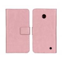 Чехол портмоне подставка (глянцевая кожа) для Nokia Lumia 630 Розовый