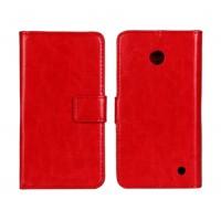 Чехол портмоне подставка (глянцевая кожа) для Nokia Lumia 630 Красный