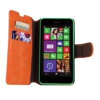 Винтажный замшевый чехол подставка для Nokia Lumia 630 Оранжевый