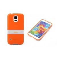Двухкомпонентный силиконовый чехол с пластиковой ножкой-подставкой для Samsung Galaxy S5 (g900fd g900f g900h) Оранжевый