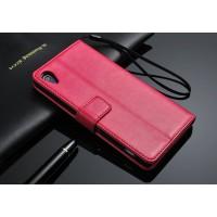 Чехол портмоне подставка глянцевый с защелкой для Sony Xperia Z2 Пурпурный