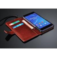 Чехол портмоне подставка глянцевый с защелкой для Sony Xperia Z2