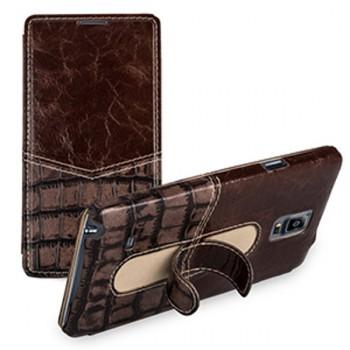 Премиум кожаный чехол (2 вида кожи) горизонтальная книжка с подставкой для Samsung Galaxy Note 4