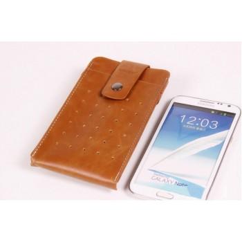 Кожаный чехол мешок с застежкой и крепежом на пояс для Samsung Galaxy Note 4