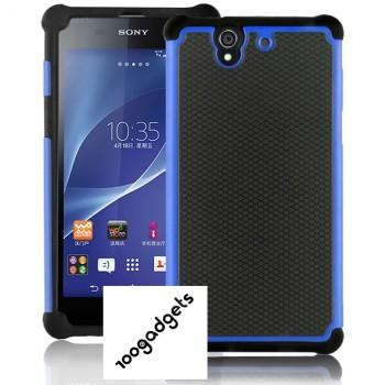Силиконовый двухкомпонентный чехол повышенной защиты с поликарбонатной нескользящей крышкой для Sony Xperia Z (c6602 c6603)