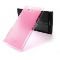 Пластиковый матовый полупрозрачный чехол для Sony Xperia Z Розовый