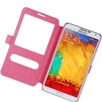 Чехол флип подставка текстурный на пластиковой основе с окном вызова и свайпом для Samsung Galaxy Note 3 Розовый