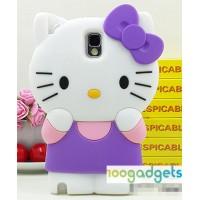 Силиконовый дизайнерский фигурный чехол Kitty для Samsung Galaxy Note 3 (n9005 n9000) Фиолетовый