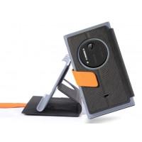 Текстурный чехол флип подставка с застежкой и внутренними карманами для Nokia Lumia 1020 Черный