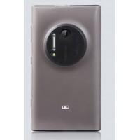 Силиконовый матовый полупрозрачный чехол с защитными заглушками разъемов для Nokia Lumia 1020 Серый
