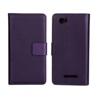 Чехол портмоне подставка с защелкой и внутренней отделкой на пластиковой основе для Sony Xperia M Фиолетовый