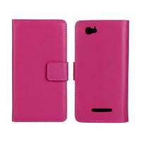 Чехол портмоне подставка с защелкой и внутренней отделкой на пластиковой основе для Sony Xperia M Пурпурный