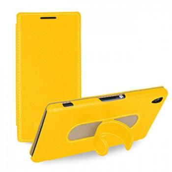 Кожаный чехол горизонтальная книжка подставка (нат. кожа) для Sony Xperia Z3