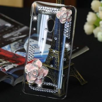 Пластиковый транспарентный чехол с инкрустацией стразами ручной работы дизайн Цветы для ASUS Zenfone 5