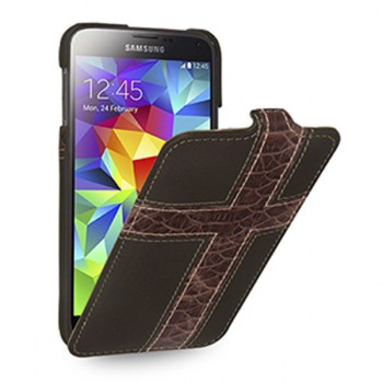 Кожаный премиум чехол книжка вертикальная (нат. кожа) для Sansung Galaxy S5
