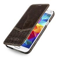 Кожаный чехол горизонтальная книжка (нат. кожа двух видов) для Samsung Galaxy S5
