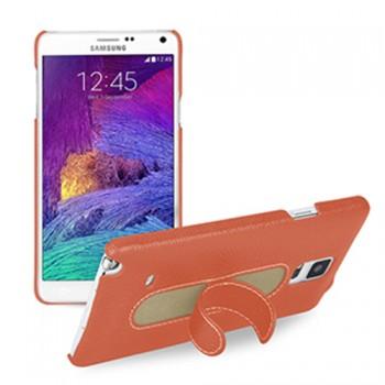 Кожаный чехол накладка (нат. кожа) с подставкой для Samsung Galaxy Note 4