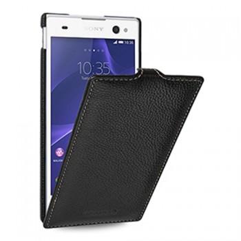 Кожаный чехол вертикальная книжка (нат. кожа) для Sony Xperia C3