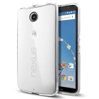 Пластиковый премиум чехол с прозрачной крышкой для Google Nexus 6 Серый