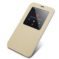 Чехол смарт флип (зернистая кожа) с окном вызова серия Colors для Meizu MX4 Белый