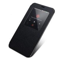 Чехол смарт флип (зернистая кожа) с окном вызова серия Colors для Meizu MX4 Черный