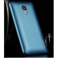 Пластиковый матовый металлик чехол для Meizu MX4 Pro Голубой