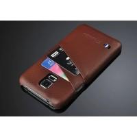 Кожаный чехол накладка зерненая текстура с отделениями для карт на Samsung Galaxy S5