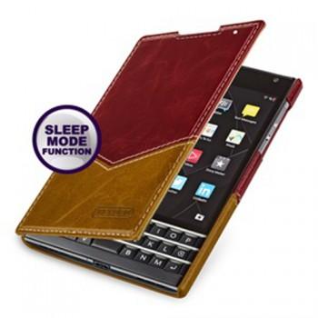 Кожаный чехол горизонтальная книжка (нат. кожа двух видов) для Blackberry Passport