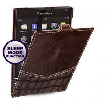 Кожаный чехол вертикальная (нат. кожа двух видов) для Blackberry Passport
