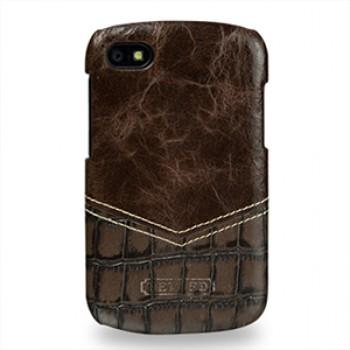 Кожаный чехол накладка (нат. кожа двух видов) для Blackberry Q10