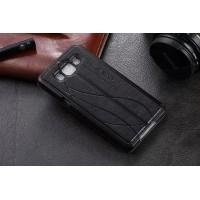 Чехол флип-подставка узорный с окном вызова и свайпом для Samsung Galaxy A5 Черный