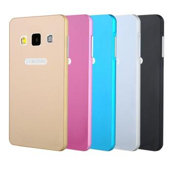 Двухкомпонентный премиум чехол с металлическим бампером и поликарбонатной одноцветной крышкой и лого-отверстием для Samsung Galaxy A5