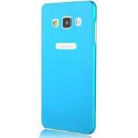 Двухкомпонентный премиум чехол с металлическим бампером и поликарбонатной одноцветной крышкой и лого-отверстием для Samsung Galaxy A5 Голубой