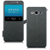 Текстурный чехол флип с окном вызова на присоске для Samsung Galaxy A5 Черный