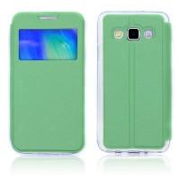 Чехол флип подставка на силиконовой основе с окном вызова для Samsung Galaxy A3 Зеленый