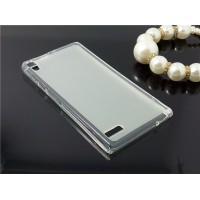 Силиконовый полупрозрачный чехол для Huawei Ascend P6 Белый