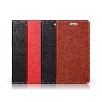 Кожаный чехол портмоне подставка (нат. кожа) на присосках для Prestigio Multiphone Grace 7557