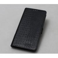 Кожаный чехол портмоне (нат. кожа под крокодила) для HTC One E8 Черный