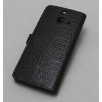 Кожаный чехол портмоне (нат. кожа под крокодила) для HTC One E8 Коричневый