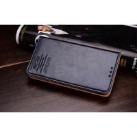 Кожаный винтажный чехол-подставка для Nokia Lumia 1520 Черный